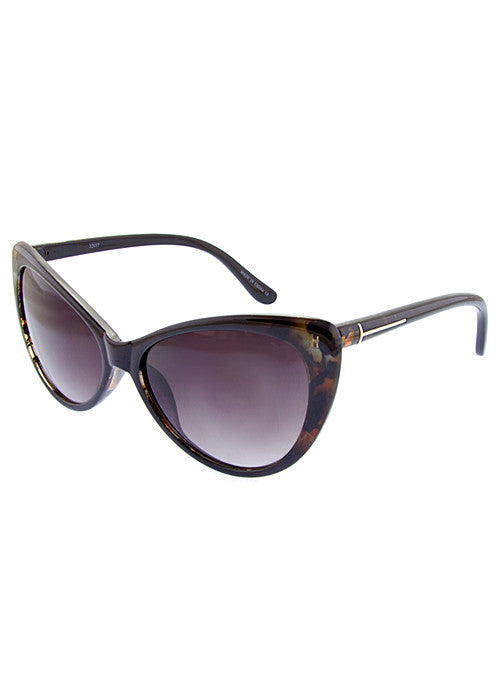 designer inspired classic cat eye sunglasses in brown print