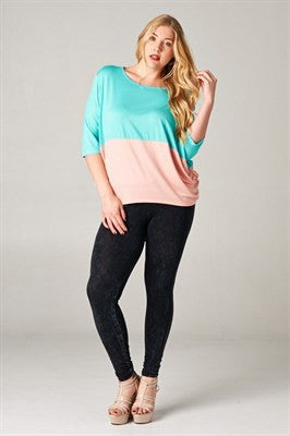 plus size colorblock dolman sleeve top mint peach