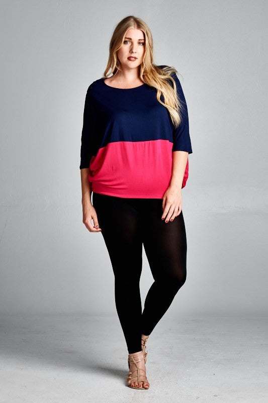 plus size colorblock doman sleeve top hot pink