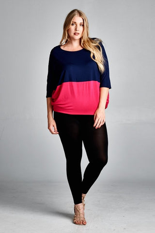 Plus Size Long Sleeve Basic Solid Top With Silver Hem