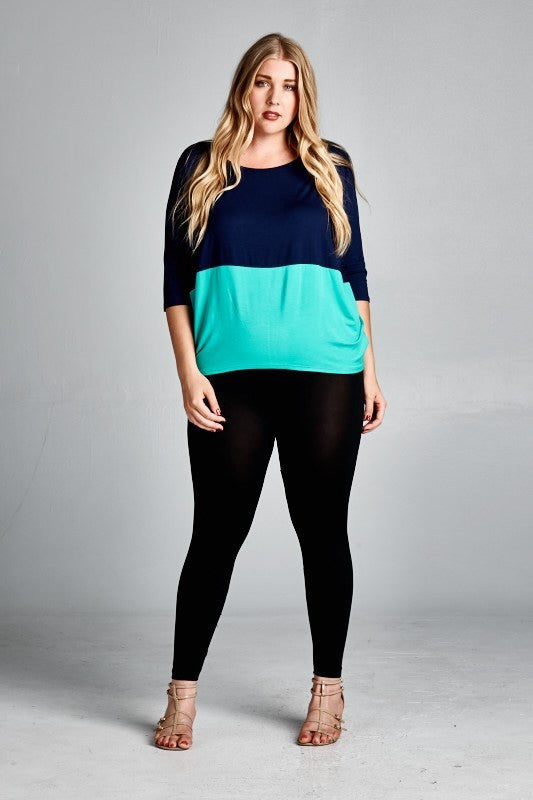 plus size colorblock dolman sleeve top mint