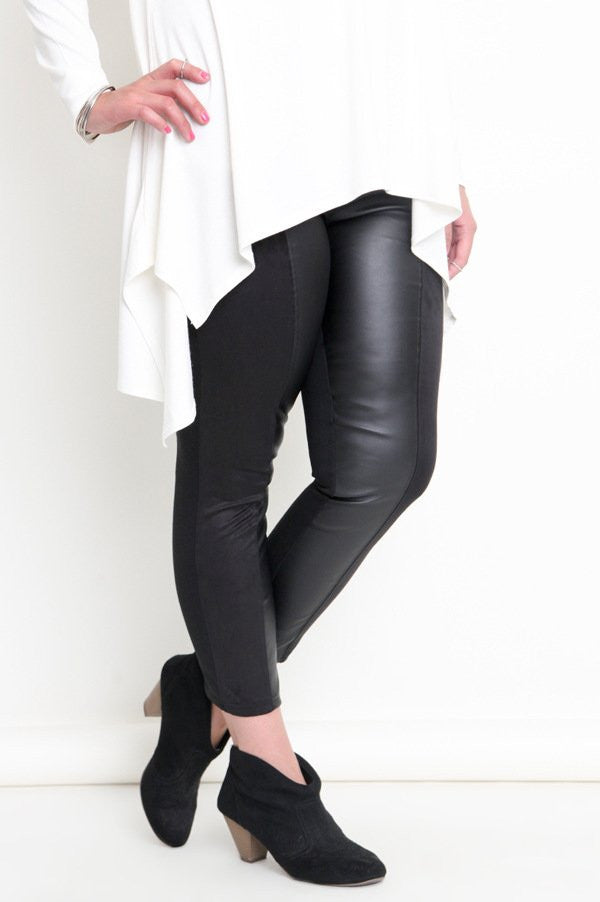 Plus Size Dual Fabric Black Skinny Pant Jeggings