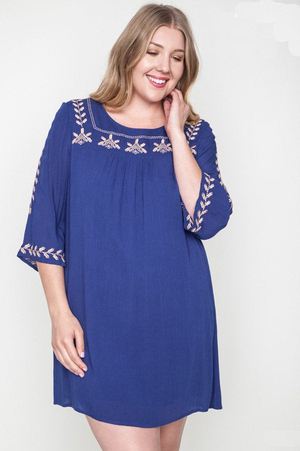 plus size blue embroidered mini bell tunic dress