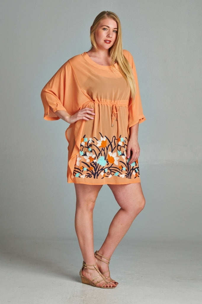 save off 100% original new specials Plus Size 3/4 Sleeve Dress with Floral Embroidery