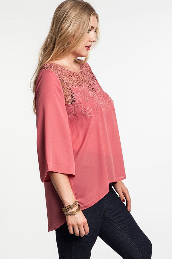 plus size hi-lo mauve floral burnout tunic top