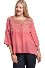 plus size braided neck top mauve