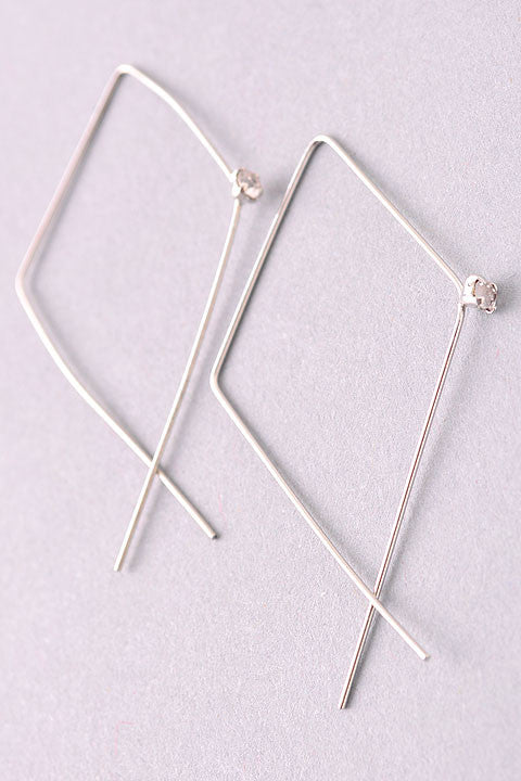 free hanging square wire hoop in silver