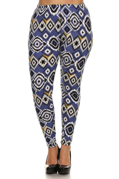 plus size french blue geometric print leggings