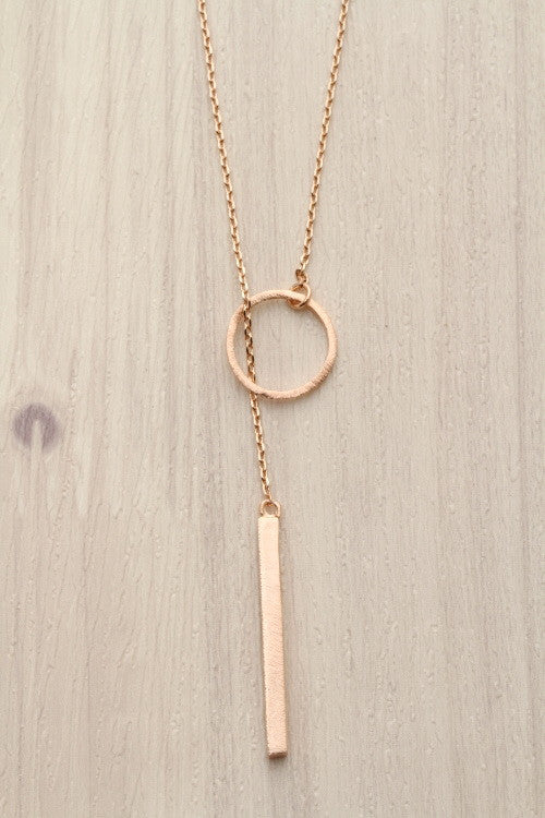 geo pendant necklace in rose gold