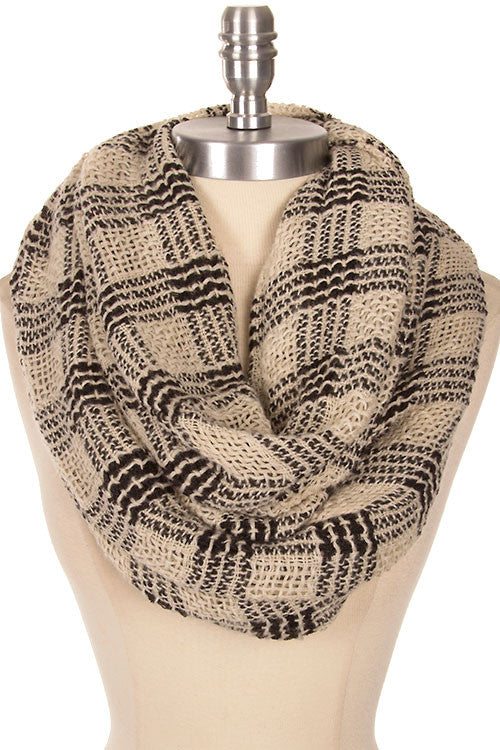 Gingham Pattern Loose Woven Infinity Scarf