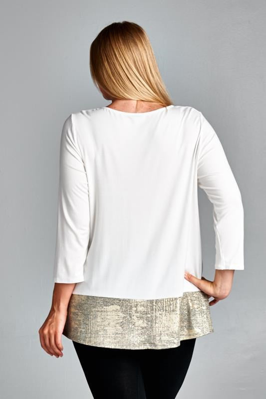 plus size white solid long sleeve top with golden hem