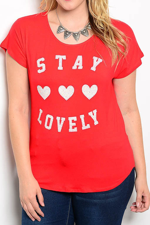 """stay lovely"" plus size graphic tee red"