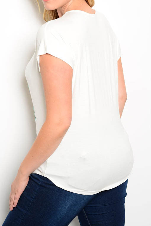 """stay lovely"" plus size graphic tee white"