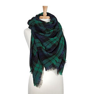 plaid blanket scarf green navy