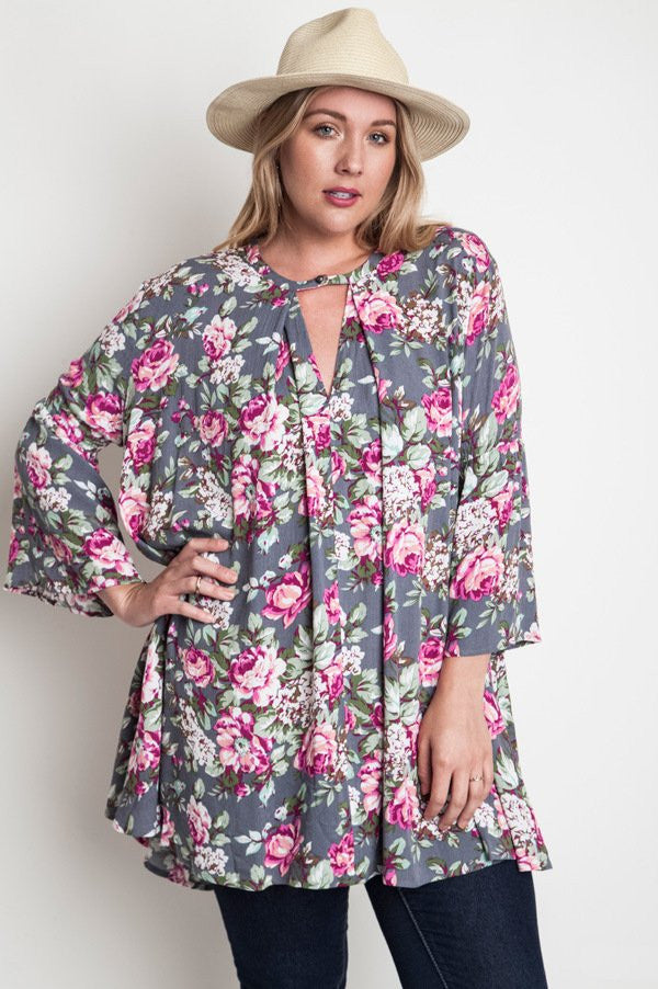 plus size grey floral print trapeze dress
