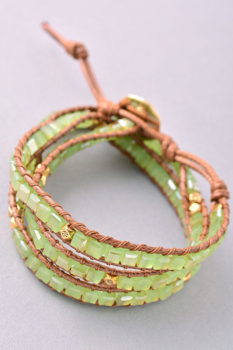 handmade bracelet with natural stones in mint