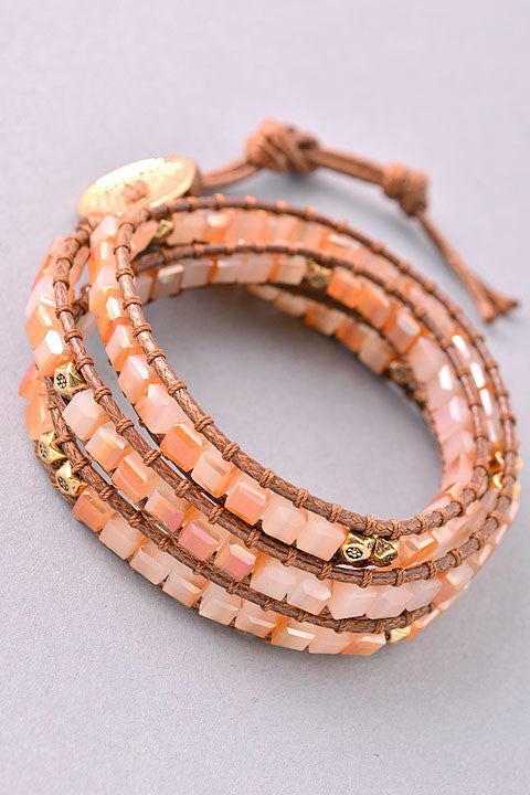 Adjustable Handmade Bracelet with Natural Stones - Peach