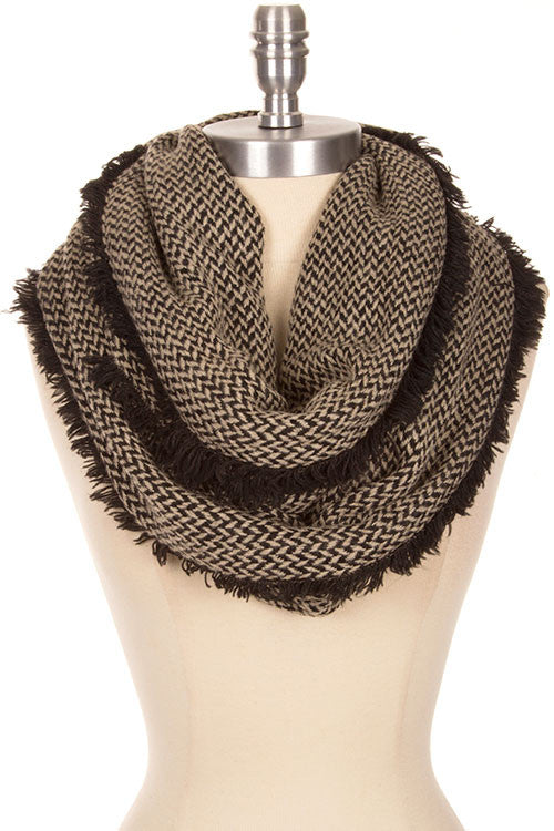 two tone herringbone pattern with frayed egde infinity scarf