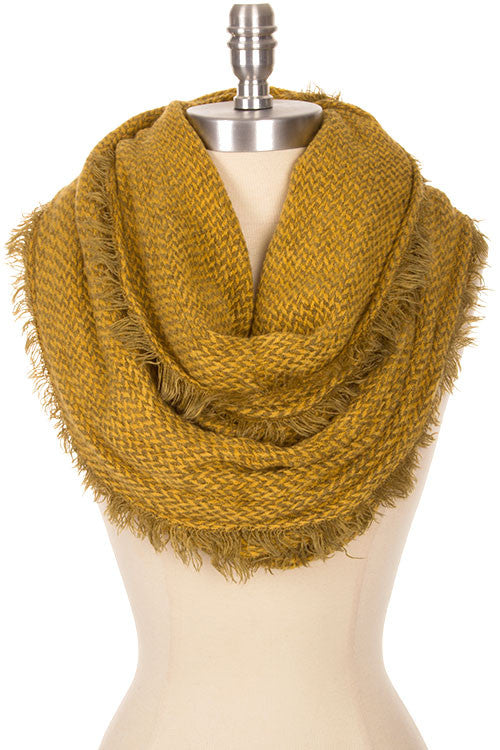 two tone herringbone pattern frayed edge infinity scarf