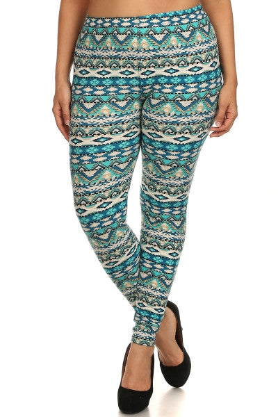 plus size aqua geometric print leggings