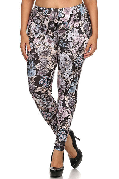 women's plus size high waist leggings in black floral print
