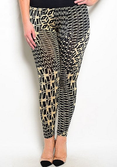 plus size high waist geometric patten black beige leggings