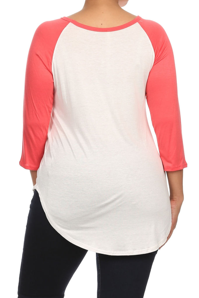 "plus size ""howdy, y'all"" graphic tee with coral sleeves"