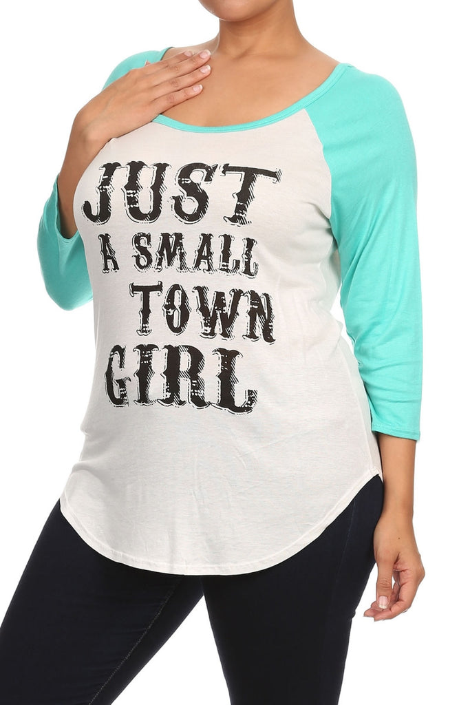 "plus size ""just a small town girl"" graphic tee gray sleeves"