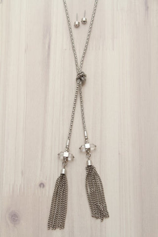 Layered Chain V-Shaped Silver Necklace