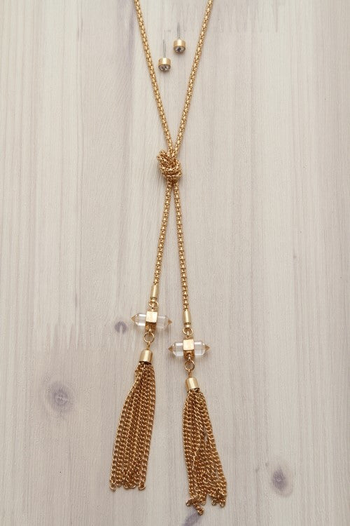 knotted chain necklace with tassels and matching earrings