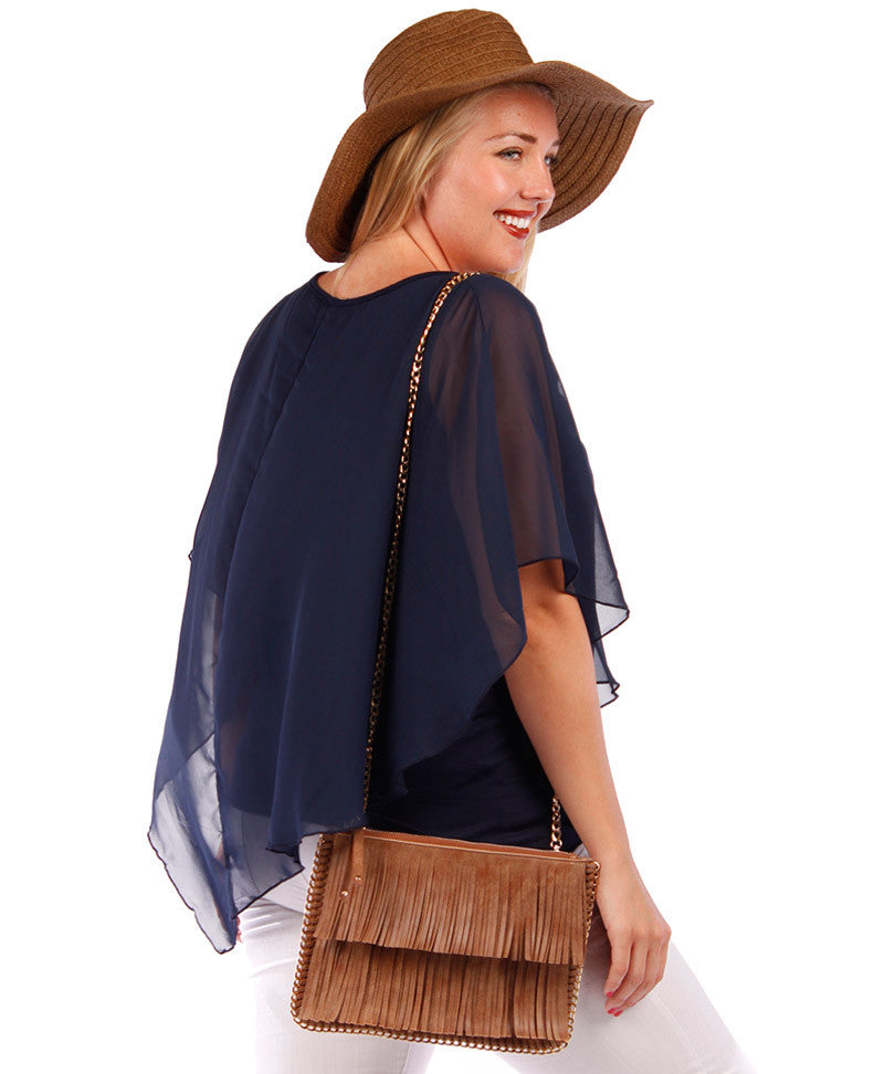 plus size layered navy chiffon blouse with gold necklace