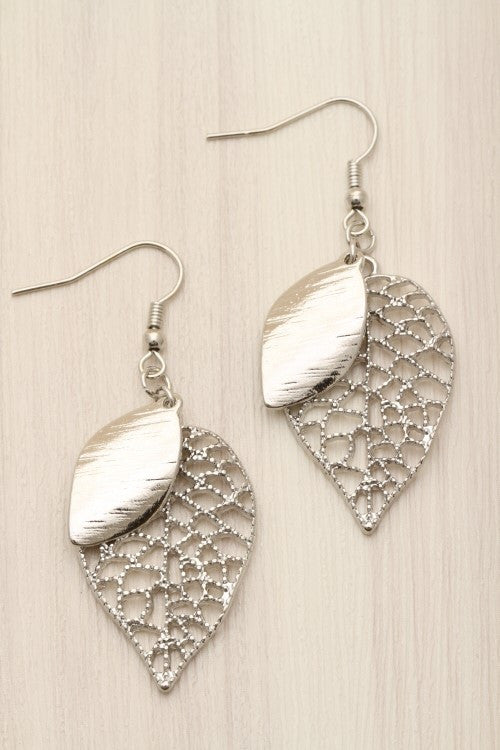 leafy drop earrings in silver
