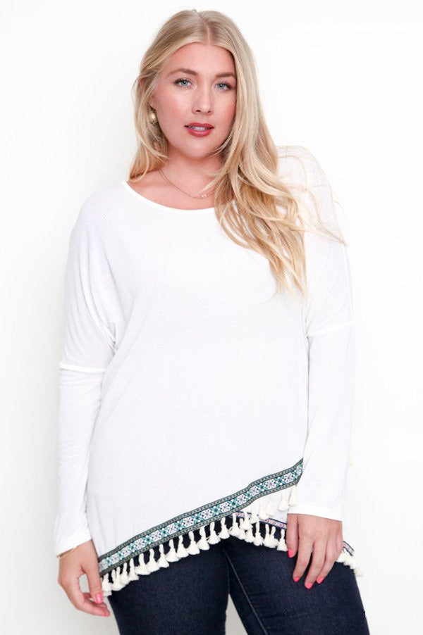 women's plus size white long sleeve tassel trim knit top