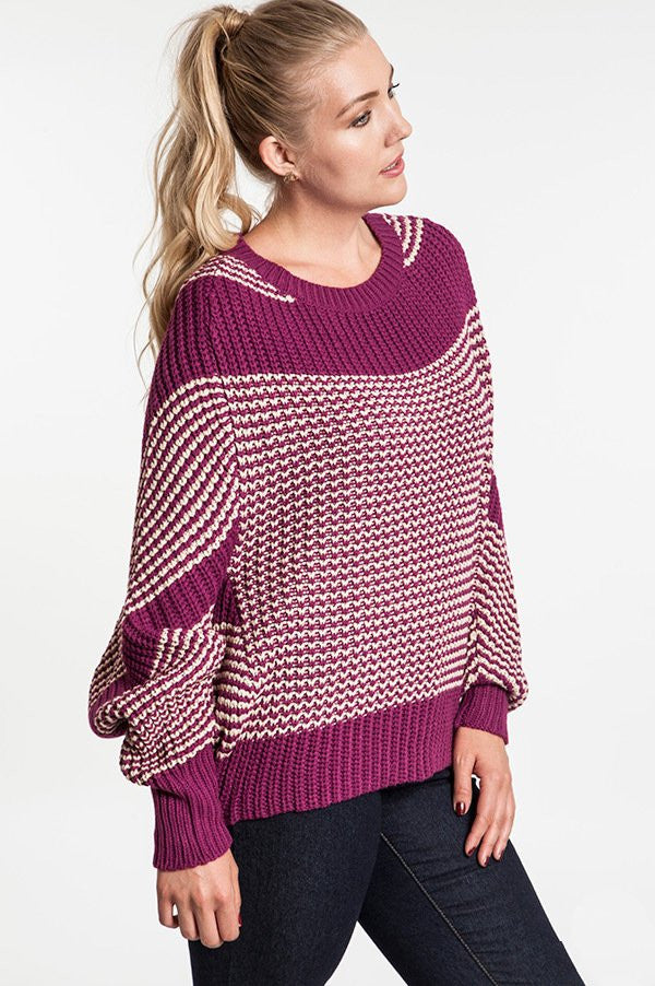 plus size magenta chunky knit striped sweater with dolman sleeve