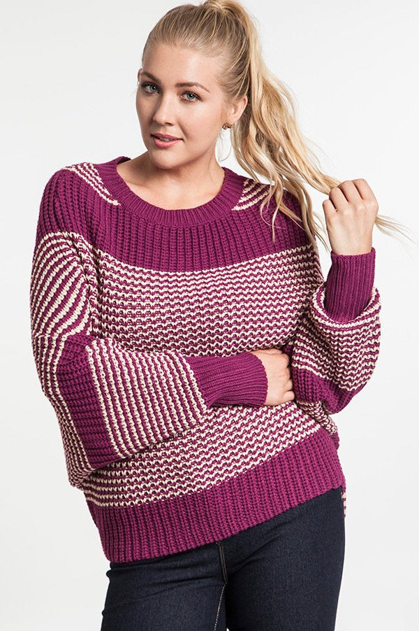 8f9d633f6b4 plus size magenta chunky knit striped sweater with dolman sleeve ...