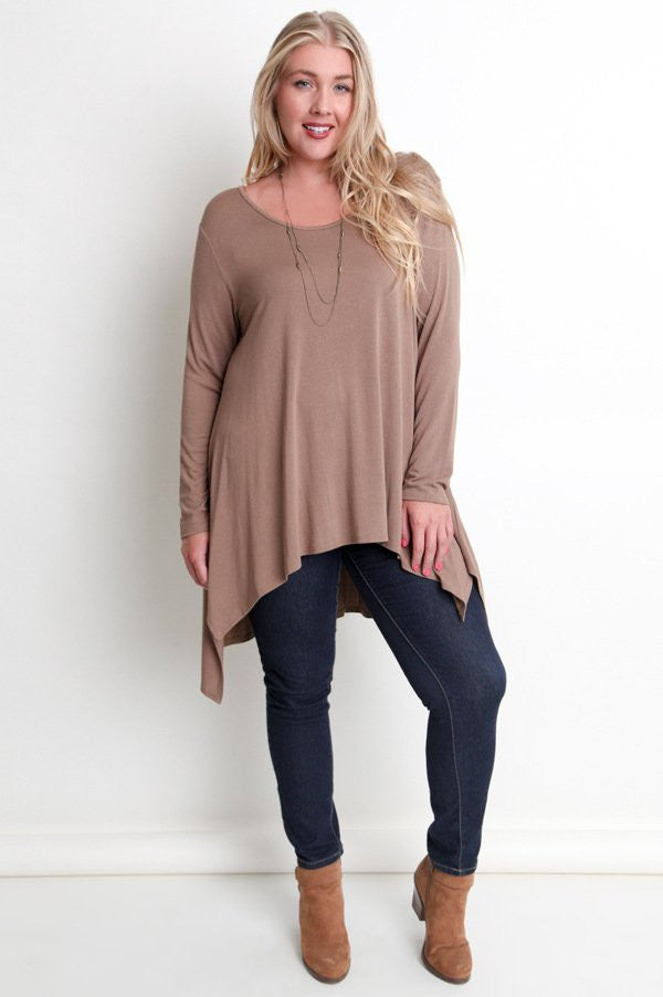 Plus Size Mocha Long Sleeve Hi-Lo Asymmetrical Top