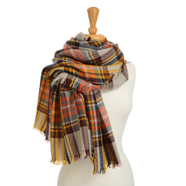 plaid blanket scarf yellow brown multi