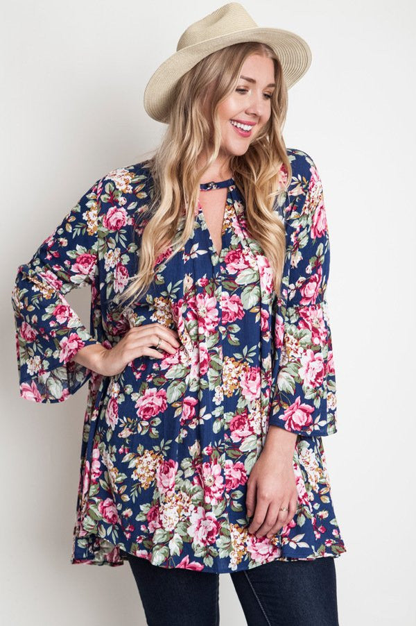 plus size navy floral print trapeze dress