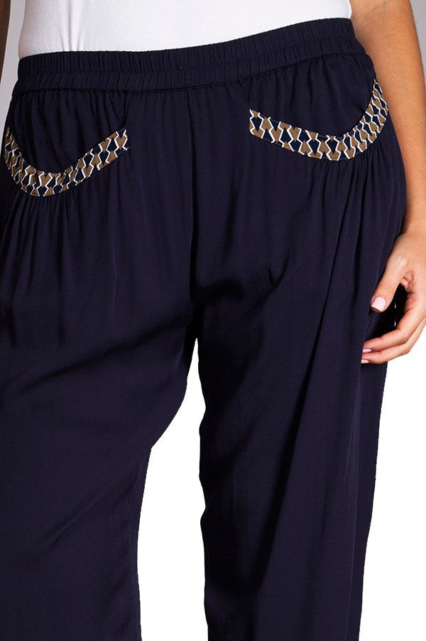 Plus Size Navy Pleated Harem Pant With Pocket Detail
