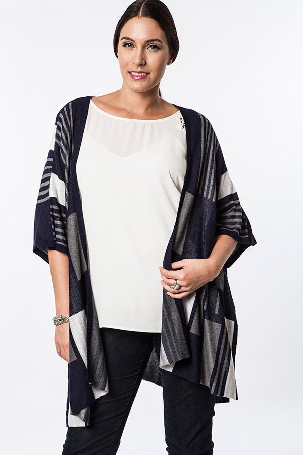 Plus Size Midnight Navy Graphic Knit Kimono Cardigan