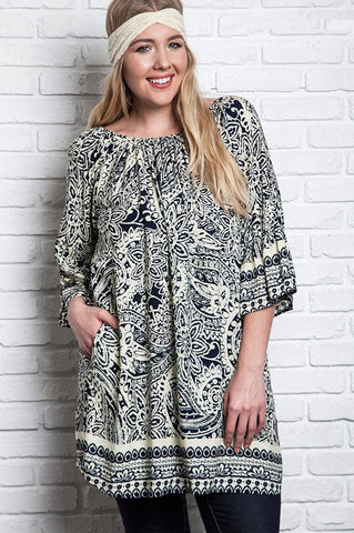 Plus Size Oversized V-Neck Tunic - Mocha
