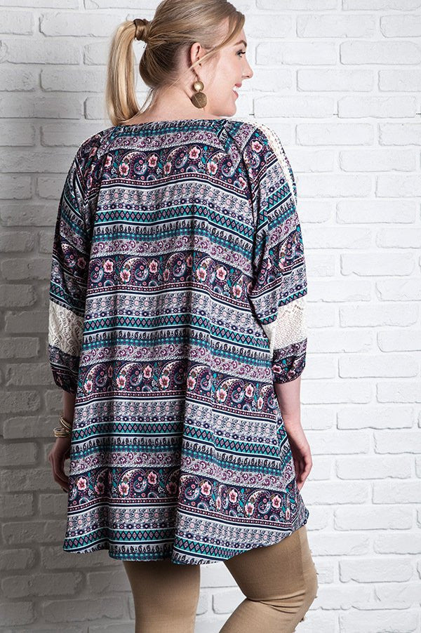 Plus Size Navy Printed 3/4 Sleeve Peasant Dress