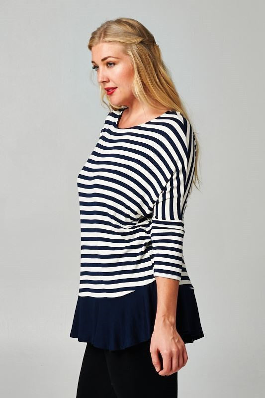 plus size navy stripes blouse with solid hem