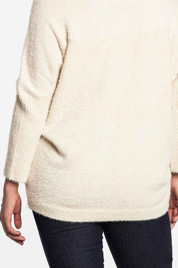 plus size oversized fuzzy sweater cream