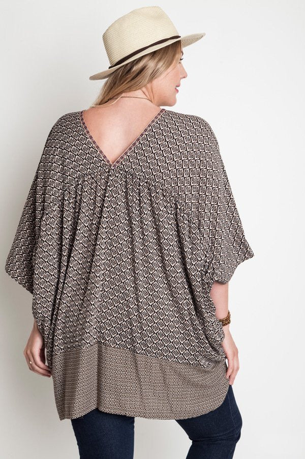 Plus Size Oversized V-Neck Tunic - Mocha - DeSarti.com