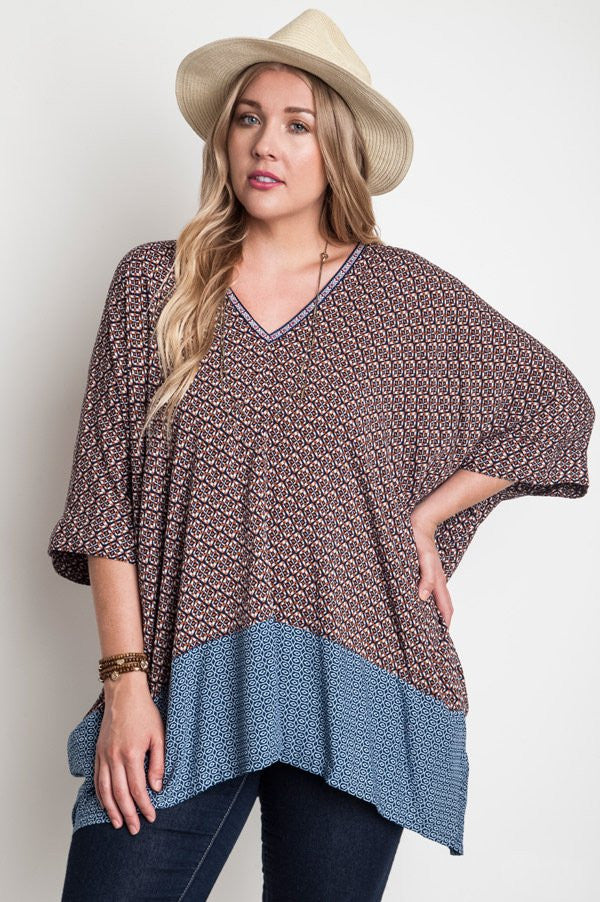 plus size oversized v-neck tunic rust color