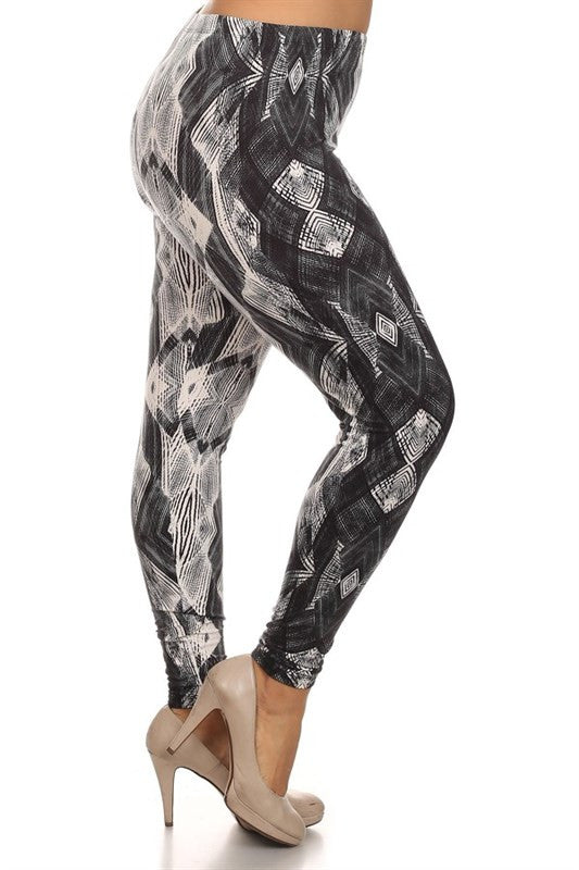 plus size high waist stretchy leggings in black and white print