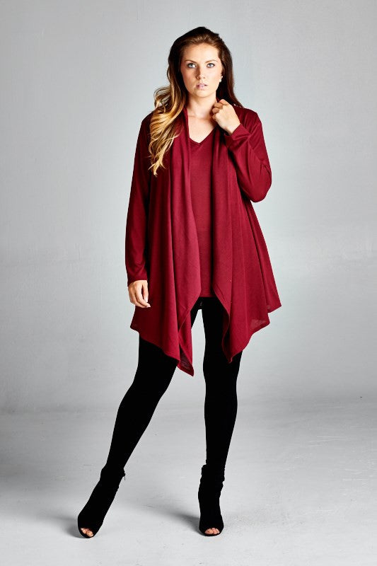 women's plus size classic cardigan twin set in burgundy