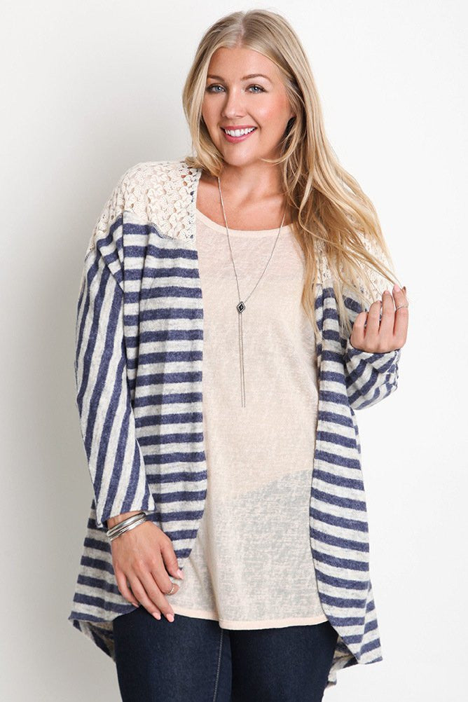 plus size kimono sweater with lace detail