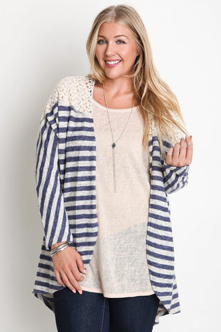 Plus Size Striped Cardigan With Tassels